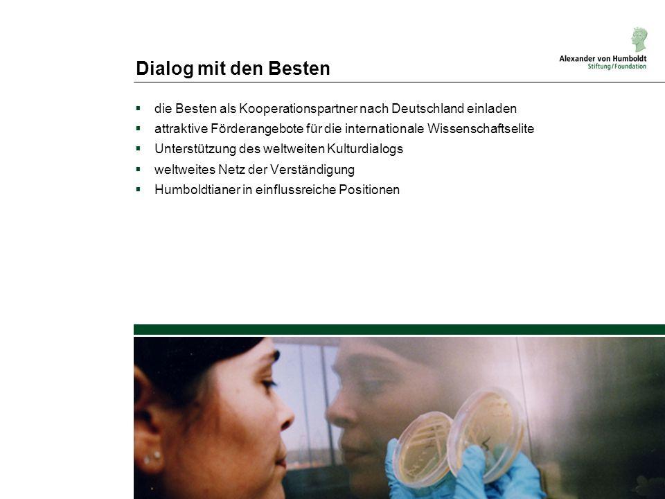 Dialog mit den Besten die Besten als Kooperationspartner nach Deutschland einladen attraktive Förderangebote für die internationale Wissenschaftselite