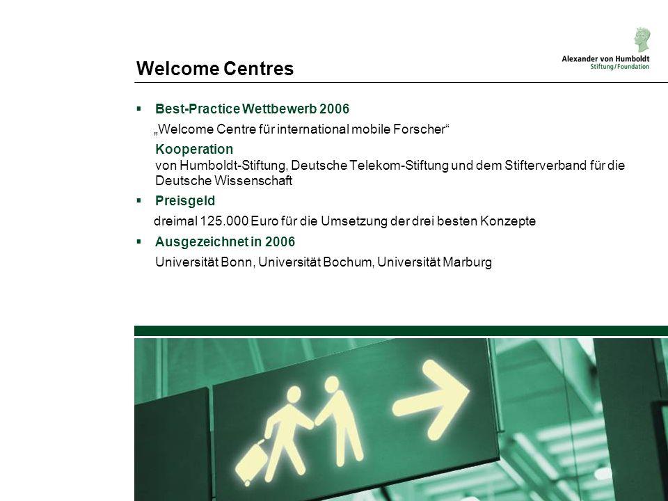 Welcome Centres Best-Practice Wettbewerb 2006 Welcome Centre für international mobile Forscher Kooperation von Humboldt-Stiftung, Deutsche Telekom-Sti