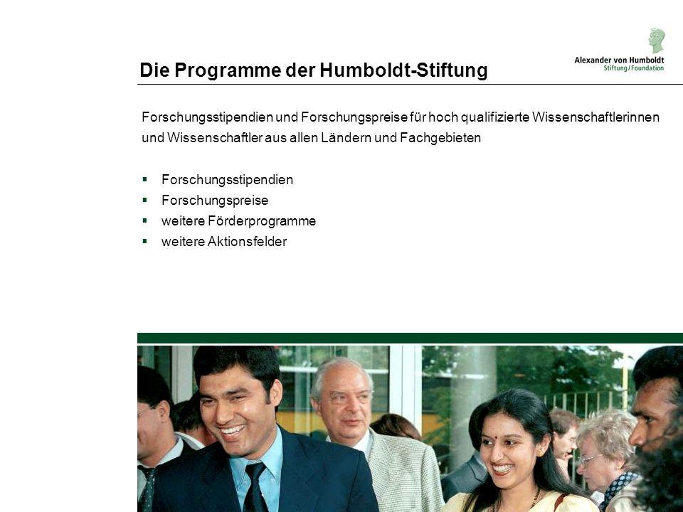 Die Programme der Humboldt-Stiftung Forschungsstipendien und Forschungspreise für hoch qualifizierte Wissenschaftlerinnen und Wissenschaftler aus alle