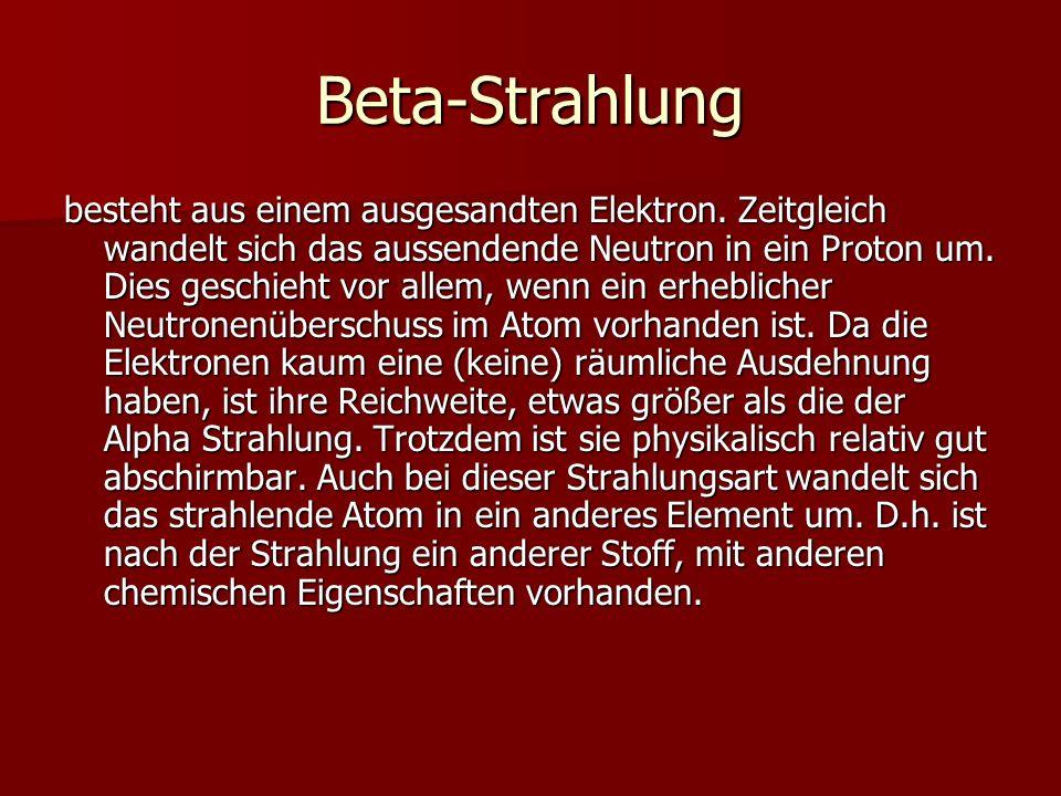 Beta-Strahlung besteht aus einem ausgesandten Elektron. Zeitgleich wandelt sich das aussendende Neutron in ein Proton um. Dies geschieht vor allem, we