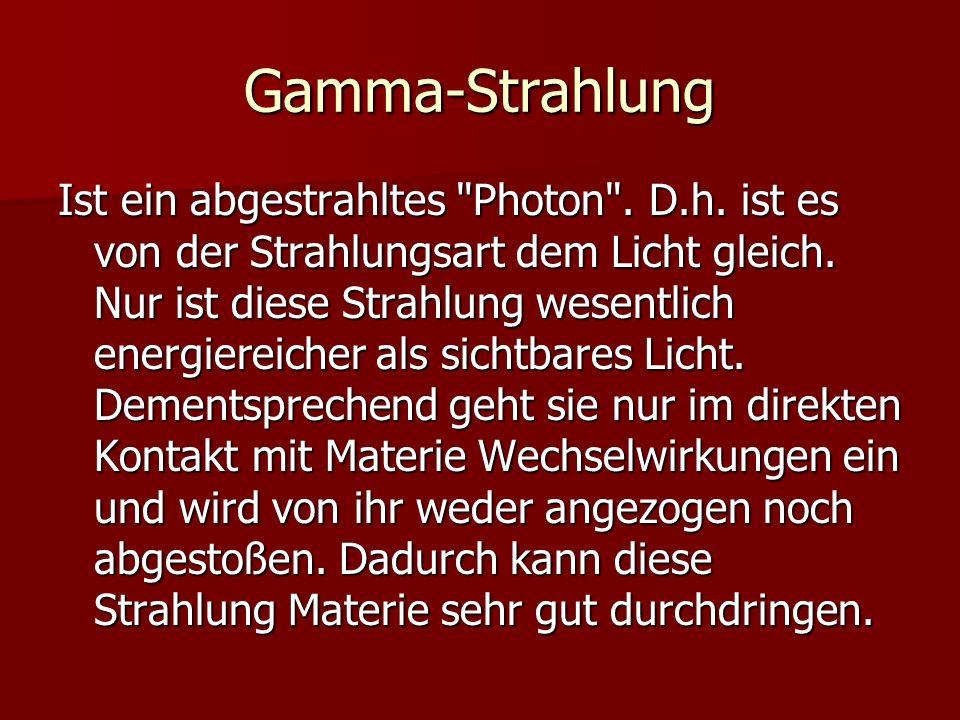 Gamma-Strahlung Ist ein abgestrahltes
