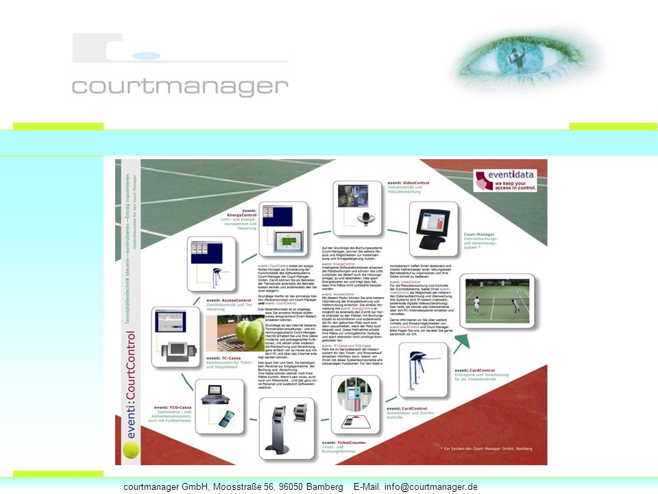 courtmanager GmbH, Moosstraße 56, 96050 Bamberg E-Mail. info@courtmanager.de