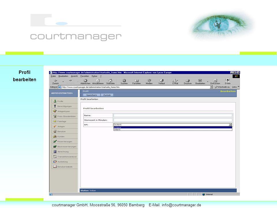 courtmanager GmbH, Moosstraße 56, 96050 Bamberg E-Mail. info@courtmanager.de Profil bearbeiten