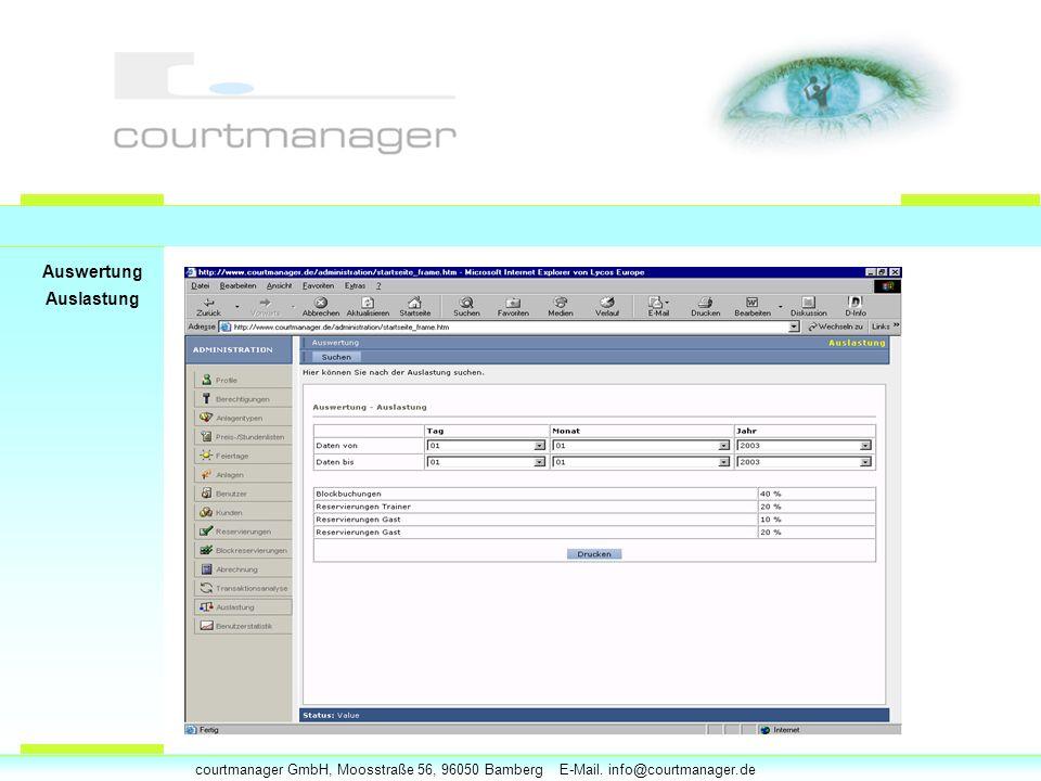 courtmanager GmbH, Moosstraße 56, 96050 Bamberg E-Mail. info@courtmanager.de Auswertung Auslastung