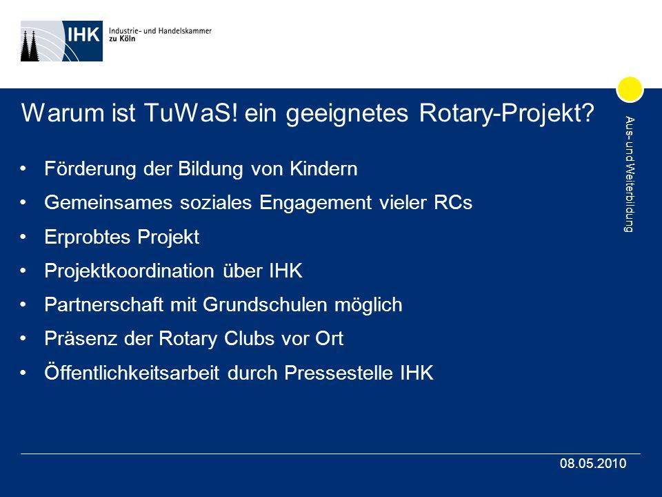 Aus- und Weiterbildung 08.05.2010 Warum ist TuWaS! ein geeignetes Rotary-Projekt? Förderung der Bildung von Kindern Gemeinsames soziales Engagement vi