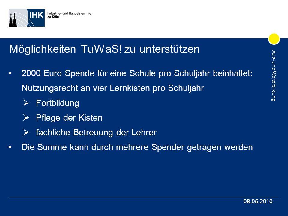 Aus- und Weiterbildung 08.05.2010 Möglichkeiten TuWaS! zu unterstützen 2000 Euro Spende für eine Schule pro Schuljahr beinhaltet: Nutzungsrecht an vie