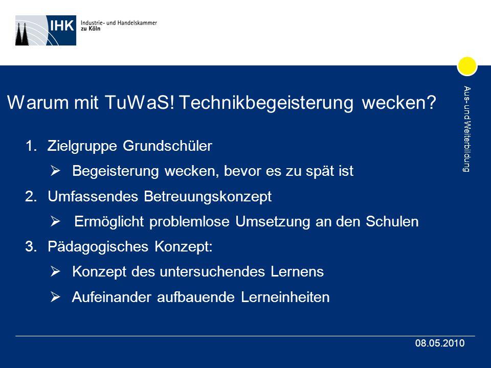 Aus- und Weiterbildung 08.05.2010 Warum mit TuWaS.