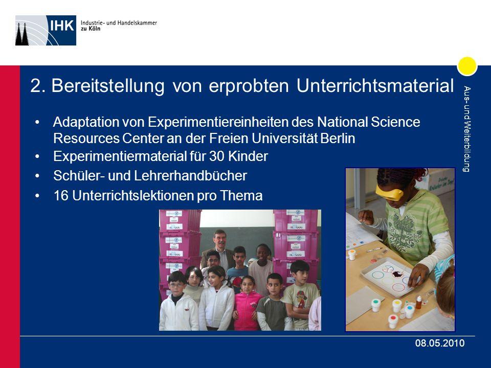Aus- und Weiterbildung 08.05.2010 2. Bereitstellung von erprobten Unterrichtsmaterial Adaptation von Experimentiereinheiten des National Science Resou