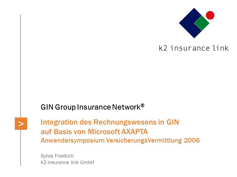 GIN Group Insurance Network ® Integration des Rechnungswesens in GIN auf Basis von Microsoft AXAPTA Anwendersymposium VersicherungsVermittlung 2006 Sy