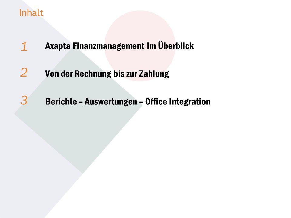 1 2 3 Axapta Finanzmanagement im Überblick Von der Rechnung bis zur Zahlung Berichte – Auswertungen – Office Integration Inhalt
