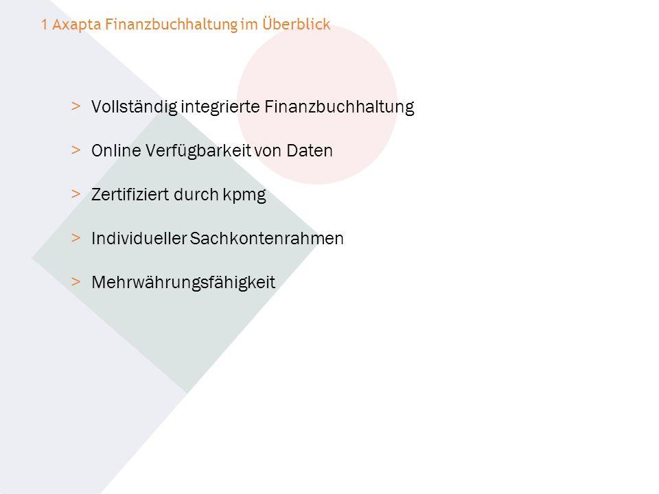 > Vollständig integrierte Finanzbuchhaltung > Online Verfügbarkeit von Daten > Zertifiziert durch kpmg > Individueller Sachkontenrahmen > Mehrwährungs