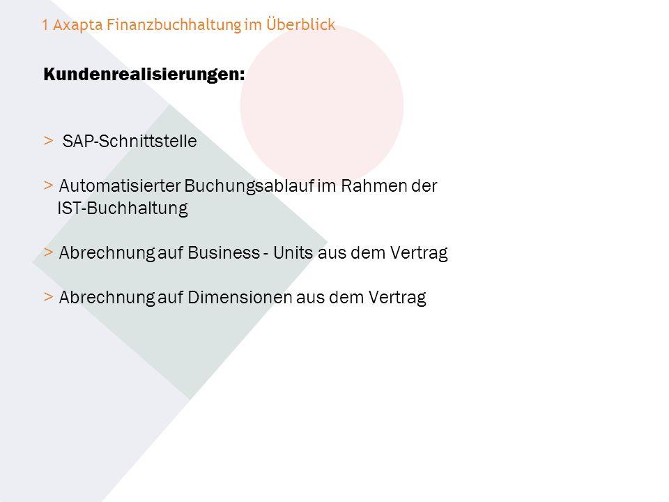 Kundenrealisierungen: > SAP-Schnittstelle > Automatisierter Buchungsablauf im Rahmen der IST-Buchhaltung > Abrechnung auf Business - Units aus dem Ver
