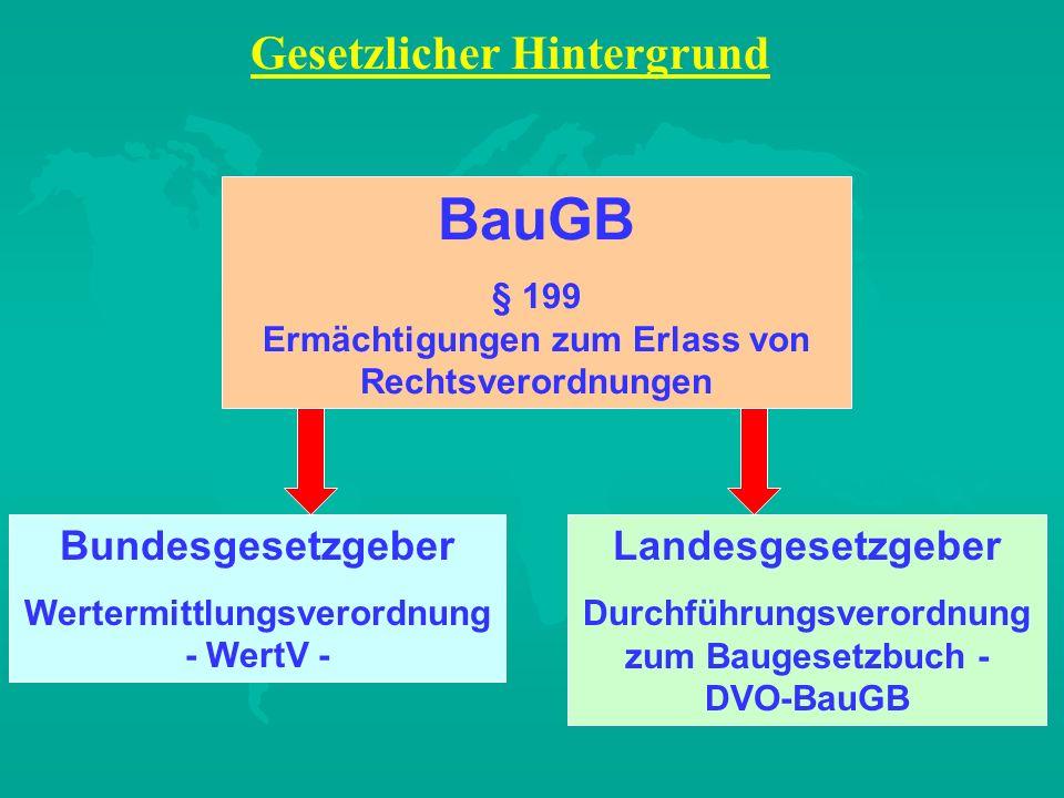 BauGB § 199 Ermächtigungen zum Erlass von Rechtsverordnungen Bundesgesetzgeber Wertermittlungsverordnung - WertV - Landesgesetzgeber Durchführungsvero