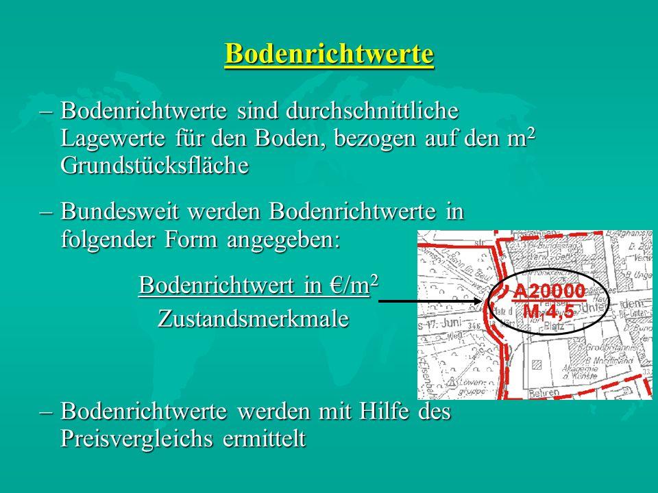 Bodenrichtwerte –Bodenrichtwerte sind durchschnittliche Lagewerte für den Boden, bezogen auf den m 2 Grundstücksfläche –Bundesweit werden Bodenrichtwe