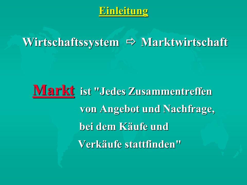 Einleitung Wirtschaftssystem Marktwirtschaft Wirtschaftssystem Marktwirtschaft Markt ist