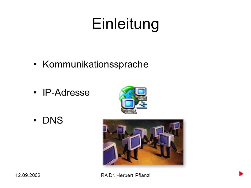 12.09.2002RA Dr. Herbert Pflanzl Einleitung Kommunikationssprache IP-Adresse DNS