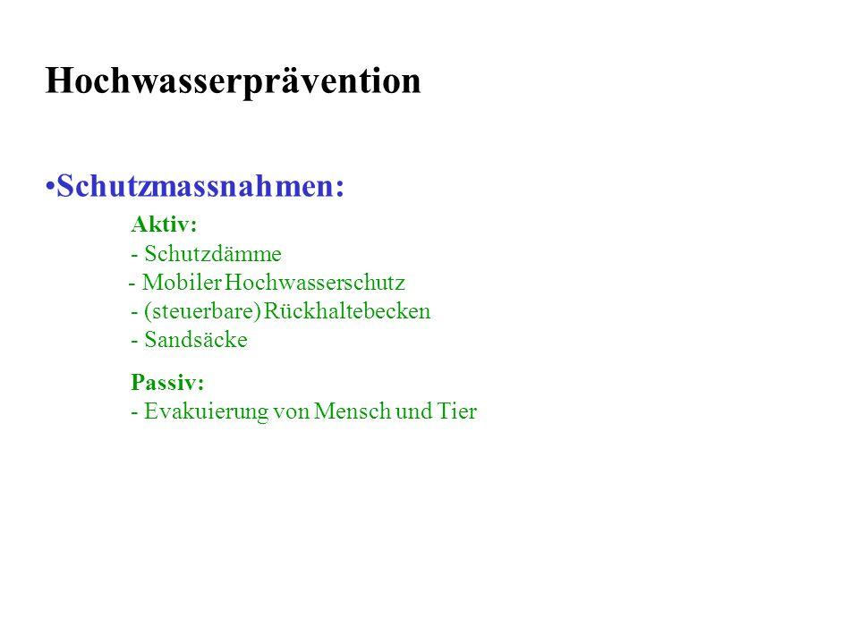 Schutzmassnahmen: Aktiv: - Schutzdämme - Mobiler Hochwasserschutz - (steuerbare) Rückhaltebecken - Sandsäcke Passiv: - Evakuierung von Mensch und Tier