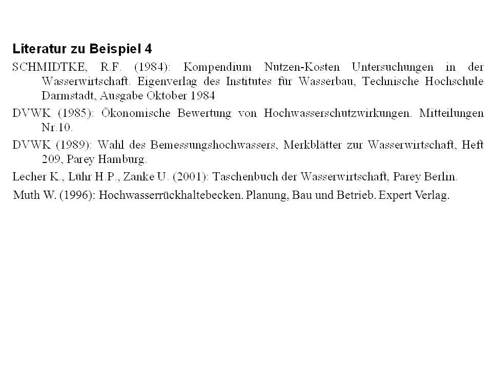 Muth W. (1996): Hochwasserrückhaltebecken. Planung, Bau und Betrieb. Expert Verlag.