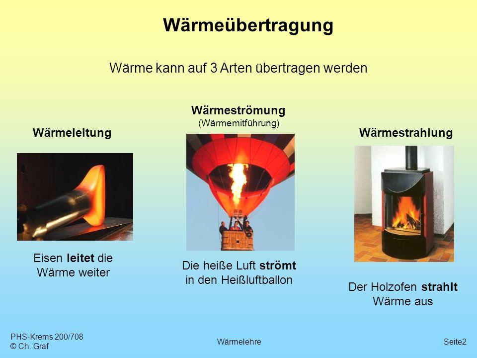 PHS-Krems 200/708 © Ch. Graf WärmelehreSeite2 Wärmeübertragung Wärme kann auf 3 Arten übertragen werden WärmeleitungWärmestrahlung Wärmeströmung (Wärm