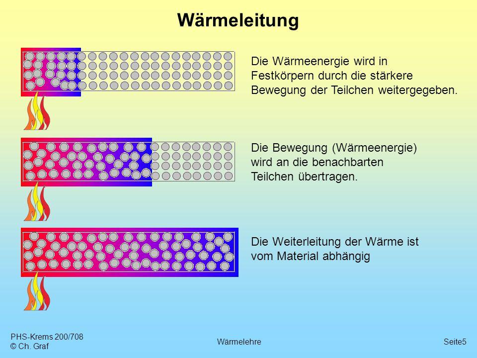 PHS-Krems 200/708 © Ch. Graf WärmelehreSeite5 Wärmeleitung Die Weiterleitung der Wärme ist vom Material abhängig Die Wärmeenergie wird in Festkörpern