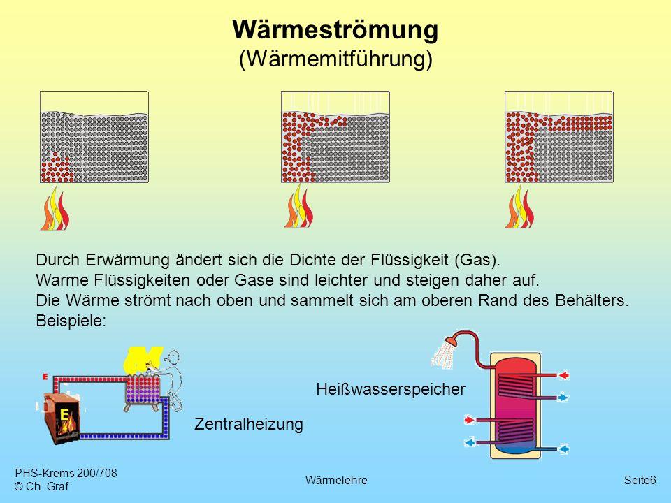PHS-Krems 200/708 © Ch. Graf WärmelehreSeite6 Wärmeströmung (Wärmemitführung) Durch Erwärmung ändert sich die Dichte der Flüssigkeit (Gas). Warme Flüs