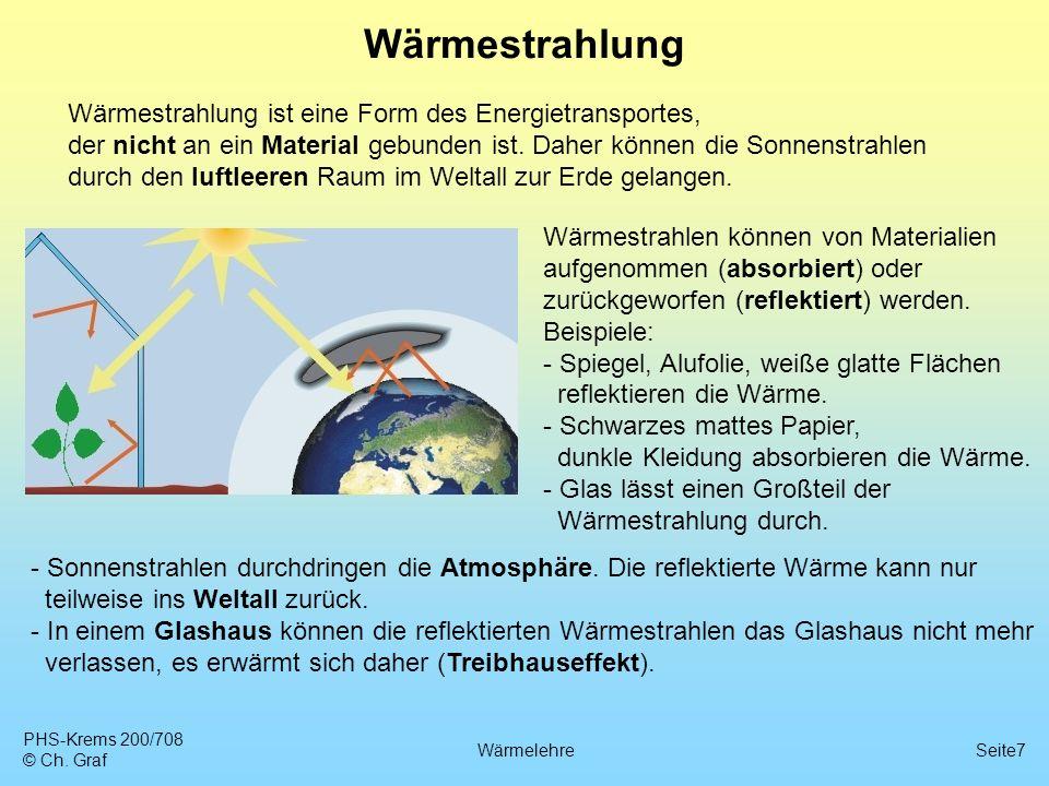 PHS-Krems 200/708 © Ch. Graf WärmelehreSeite7 Wärmestrahlung Wärmestrahlung ist eine Form des Energietransportes, der nicht an ein Material gebunden i