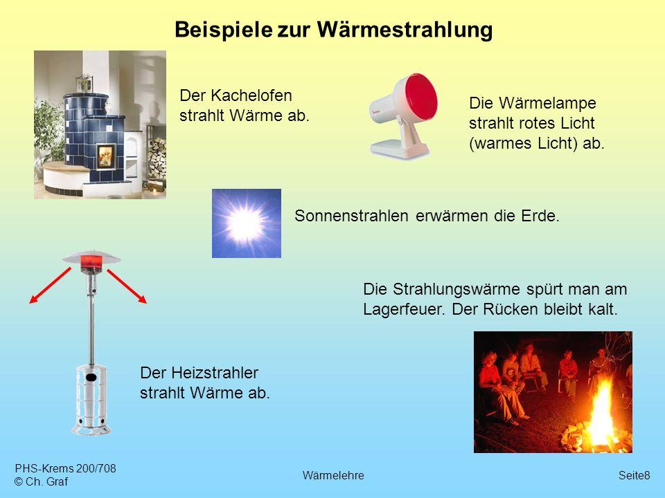 PHS-Krems 200/708 © Ch. Graf WärmelehreSeite8 Beispiele zur Wärmestrahlung Der Kachelofen strahlt Wärme ab. Die Wärmelampe strahlt rotes Licht (warmes
