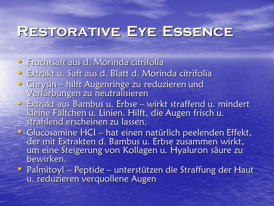 Restorative Eye Essence Fruchtsaft aus d. Morinda citrifolia Fruchtsaft aus d.