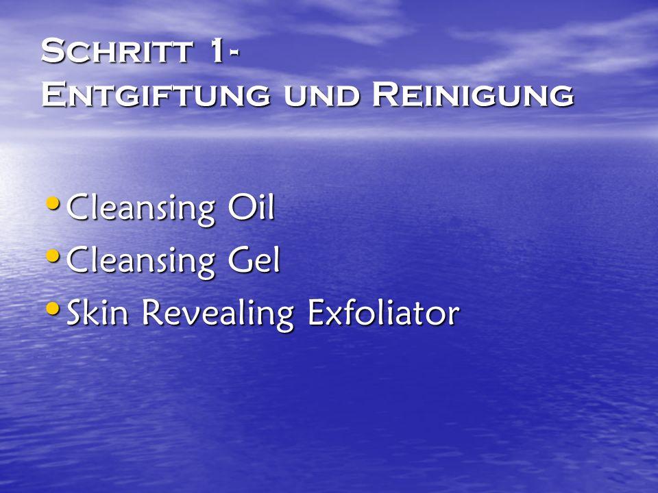 Schritt 1- Entgiftung und Reinigung Cleansing Oil Cleansing Oil Cleansing Gel Cleansing Gel Skin Revealing Exfoliator Skin Revealing Exfoliator