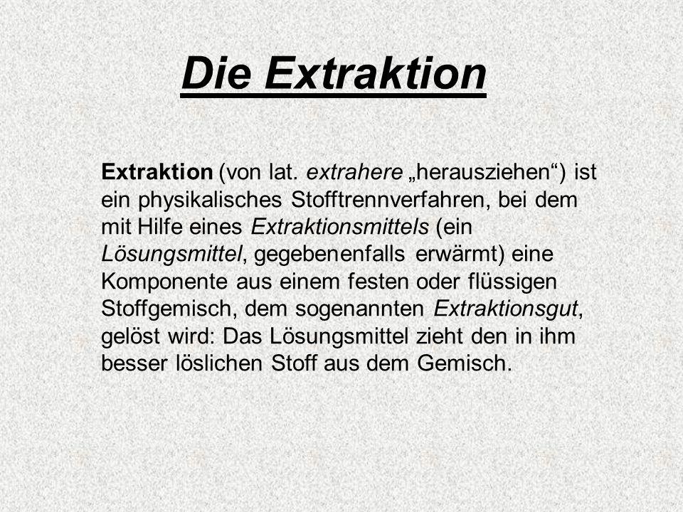 Extraktion (von lat. extrahere herausziehen) ist ein physikalisches Stofftrennverfahren, bei dem mit Hilfe eines Extraktionsmittels (ein Lösungsmittel