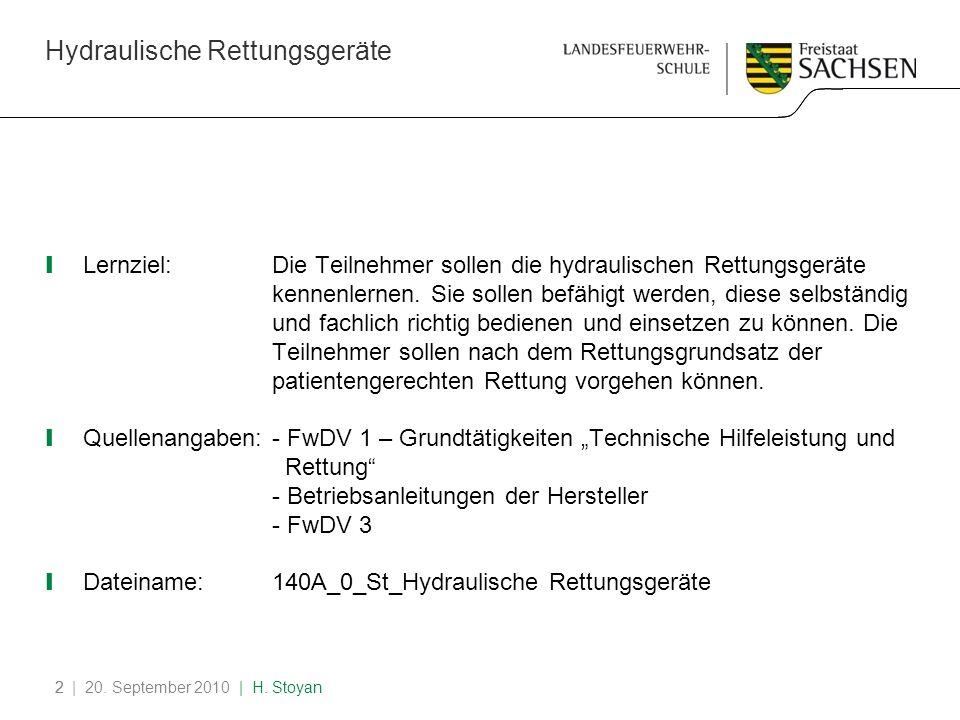 Hydraulische Rettungsgeräte | 20. September 2010 | H. Stoyan22 Lernziel:Die Teilnehmer sollen die hydraulischen Rettungsgeräte kennenlernen. Sie solle