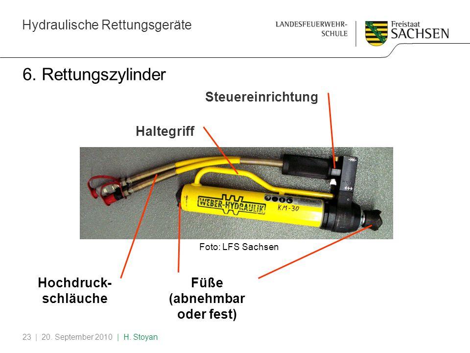 Hydraulische Rettungsgeräte | 20. September 2010 | H. Stoyan23 6. Rettungszylinder Hochdruck- schläuche Steuereinrichtung Haltegriff Füße (abnehmbar o