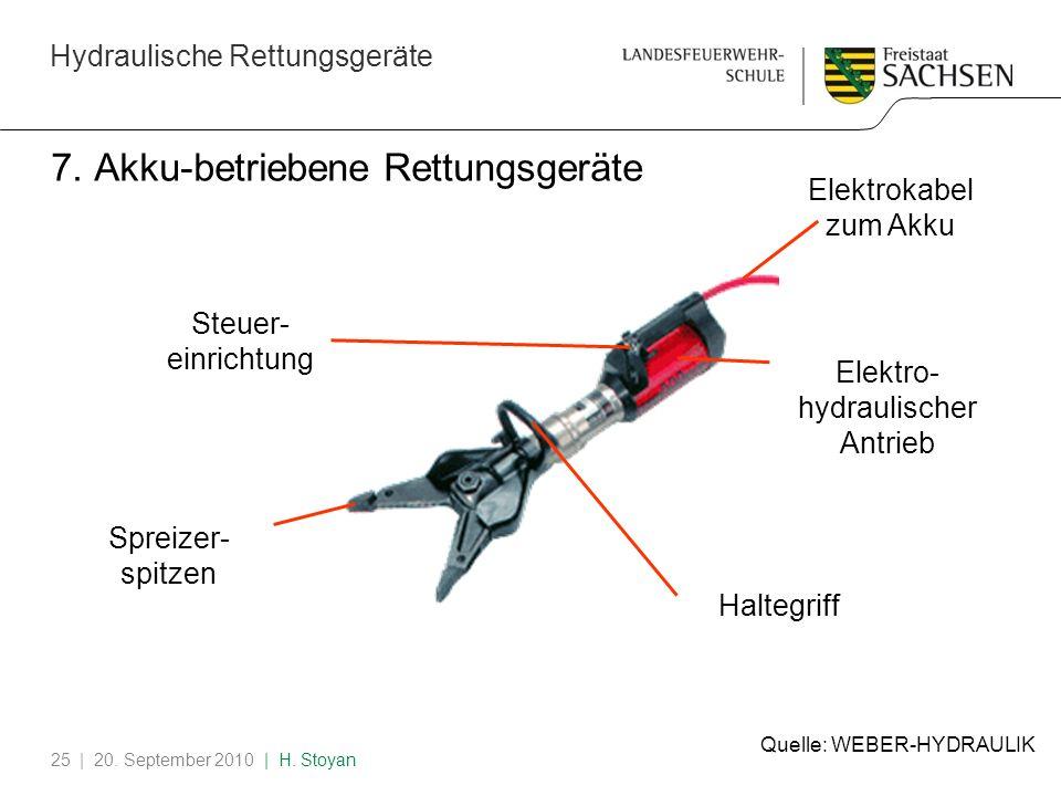 Hydraulische Rettungsgeräte | 20. September 2010 | H. Stoyan25 7. Akku-betriebene Rettungsgeräte Spreizer- spitzen Haltegriff Elektrokabel zum Akku El