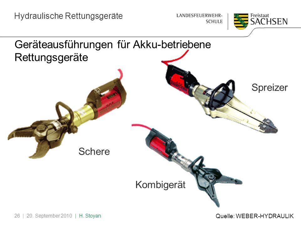 Hydraulische Rettungsgeräte | 20. September 2010 | H. Stoyan26 Geräteausführungen für Akku-betriebene Rettungsgeräte Schere Kombigerät Spreizer Quelle