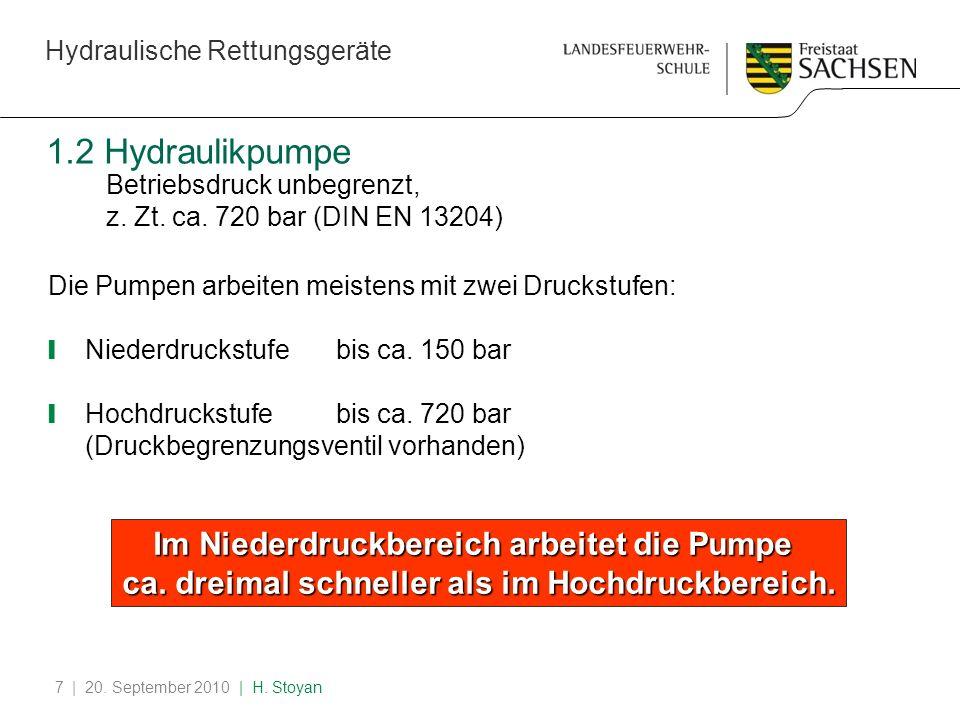 Hydraulische Rettungsgeräte | 20. September 2010 | H. Stoyan7 1.2 Hydraulikpumpe Betriebsdruck unbegrenzt, z. Zt. ca. 720 bar (DIN EN 13204) Die Pumpe