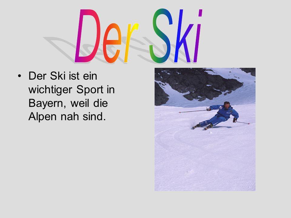 Der Ski ist ein wichtiger Sport in Bayern, weil die Alpen nah sind.