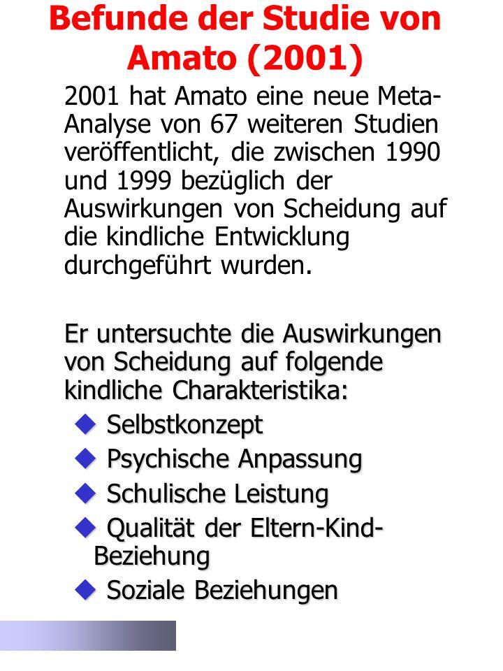 Befunde der Studie von Amato (2001) 2001 hat Amato eine neue Meta- Analyse von 67 weiteren Studien veröffentlicht, die zwischen 1990 und 1999 bezüglic