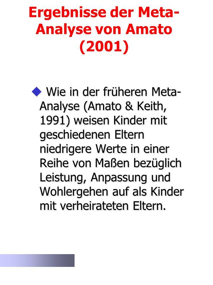 Ergebnisse der Meta- Analyse von Amato (2001) Wie in der früheren Meta- Analyse (Amato & Keith, 1991) weisen Kinder mit geschiedenen Eltern niedrigere