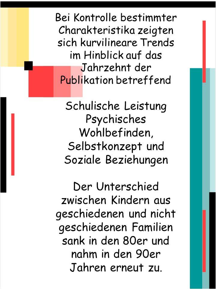 Bei Kontrolle bestimmter Charakteristika zeigten sich kurvilineare Trends im Hinblick auf das Jahrzehnt der Publikation betreffend Schulische Leistung