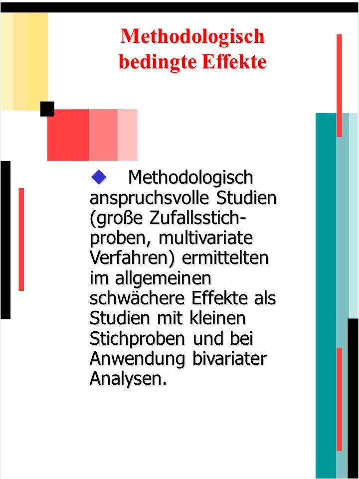 Methodologisch bedingte Effekte Methodologisch anspruchsvolle Studien (große Zufallsstich- proben, multivariate Verfahren) ermittelten im allgemeinen