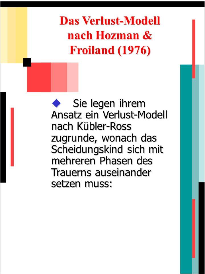 Das Verlust-Modell nach Hozman & Froiland (1976) Sie legen ihrem Ansatz ein Verlust-Modell nach Kübler-Ross zugrunde, wonach das Scheidungskind sich m