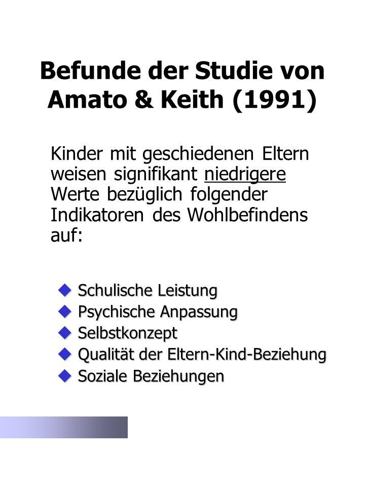 Befunde der Studie von Amato & Keith (1991) Kinder mit geschiedenen Eltern weisen signifikant niedrigere Werte bezüglich folgender Indikatoren des Woh