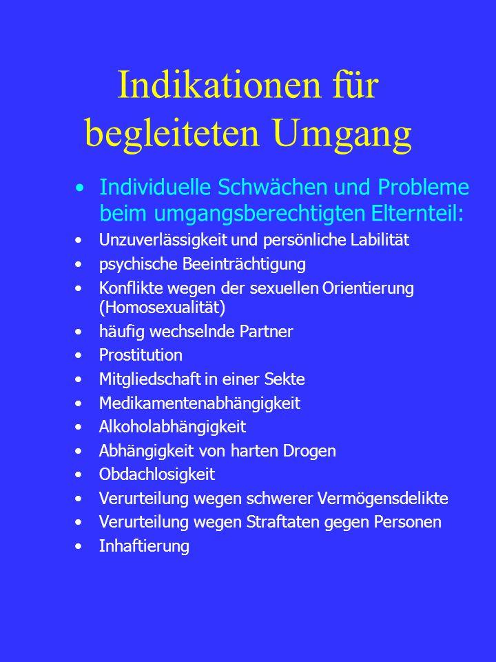 Indikationen für begleiteten Umgang Individuelle Schwächen und Probleme beim umgangsberechtigten Elternteil: Unzuverlässigkeit und persönliche Labilit