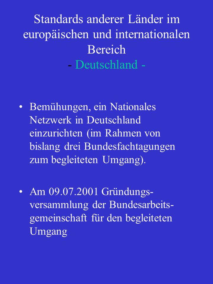 Standards anderer Länder im europäischen und internationalen Bereich - Deutschland - Bemühungen, ein Nationales Netzwerk in Deutschland einzurichten (