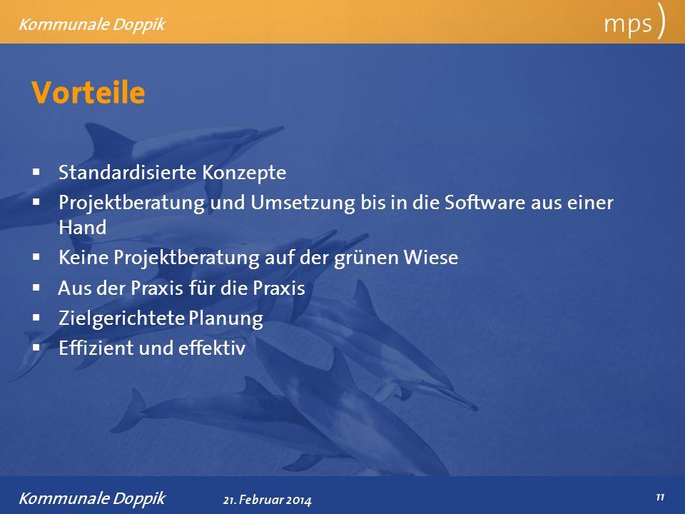 Präsentationstitel 21. Februar 2014 Vorteile mps ) Kommunale Doppik Standardisierte Konzepte Projektberatung und Umsetzung bis in die Software aus ein