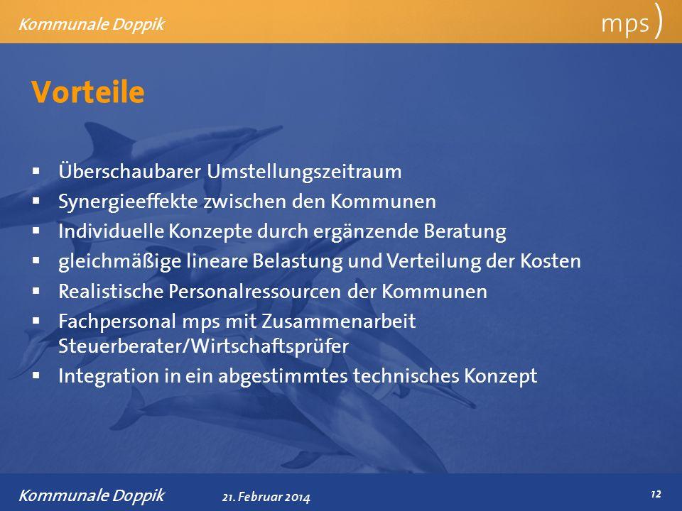 Präsentationstitel 21. Februar 2014 Vorteile mps ) Kommunale Doppik Überschaubarer Umstellungszeitraum Synergieeffekte zwischen den Kommunen Individue
