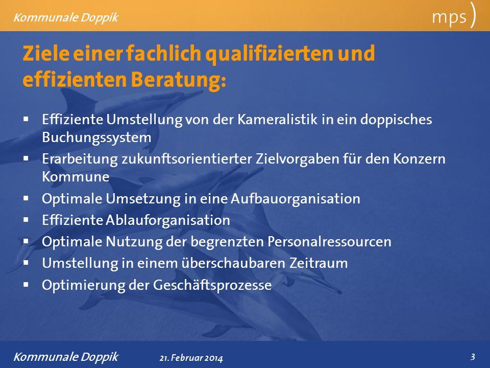 Präsentationstitel 21. Februar 2014 Ziele einer fachlich qualifizierten und effizienten Beratung: mps ) Kommunale Doppik Effiziente Umstellung von der