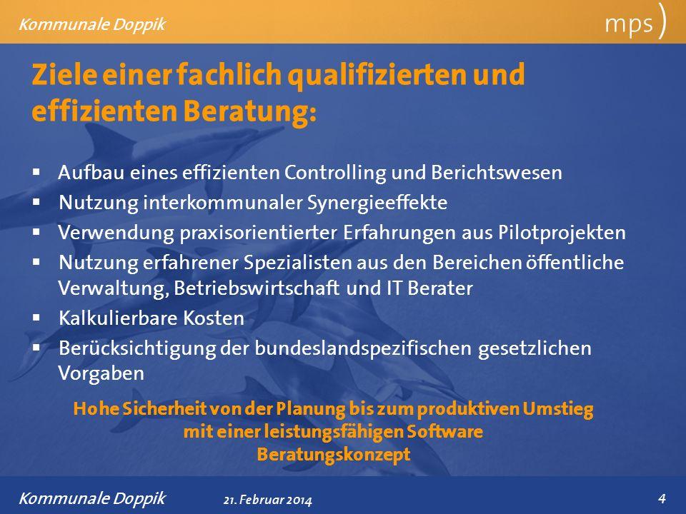 Präsentationstitel 21. Februar 2014 Ziele einer fachlich qualifizierten und effizienten Beratung: mps ) Kommunale Doppik Aufbau eines effizienten Cont