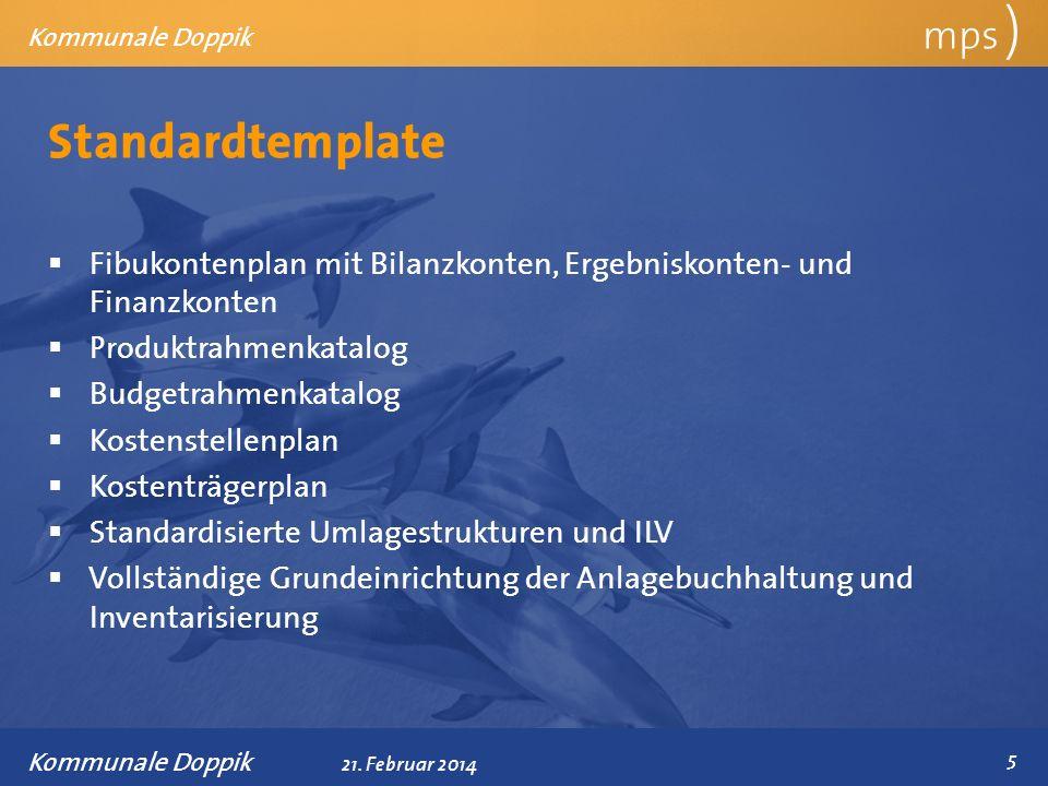 Präsentationstitel 21. Februar 2014 Standardtemplate mps ) Kommunale Doppik Fibukontenplan mit Bilanzkonten, Ergebniskonten- und Finanzkonten Produktr