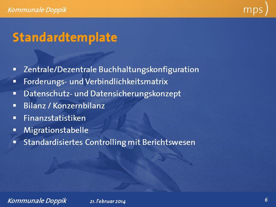 Präsentationstitel 21. Februar 2014 Standardtemplate mps ) Kommunale Doppik Zentrale/Dezentrale Buchhaltungskonfiguration Forderungs- und Verbindlichk